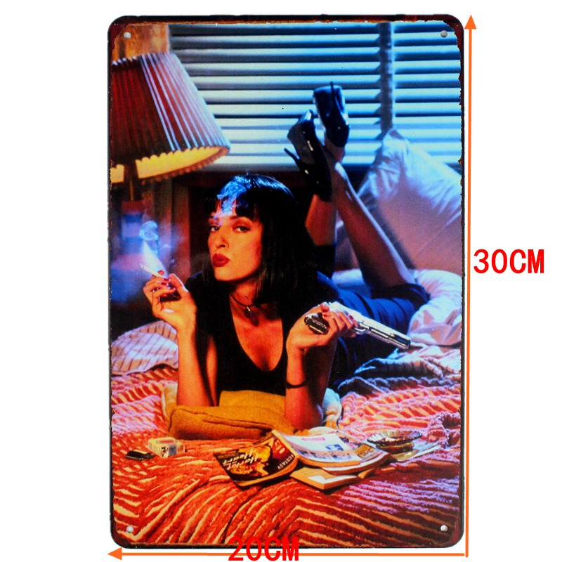 Pulp Fiction Classic Movie Tin Sign Metal Plate Iron Painting Wall Dec