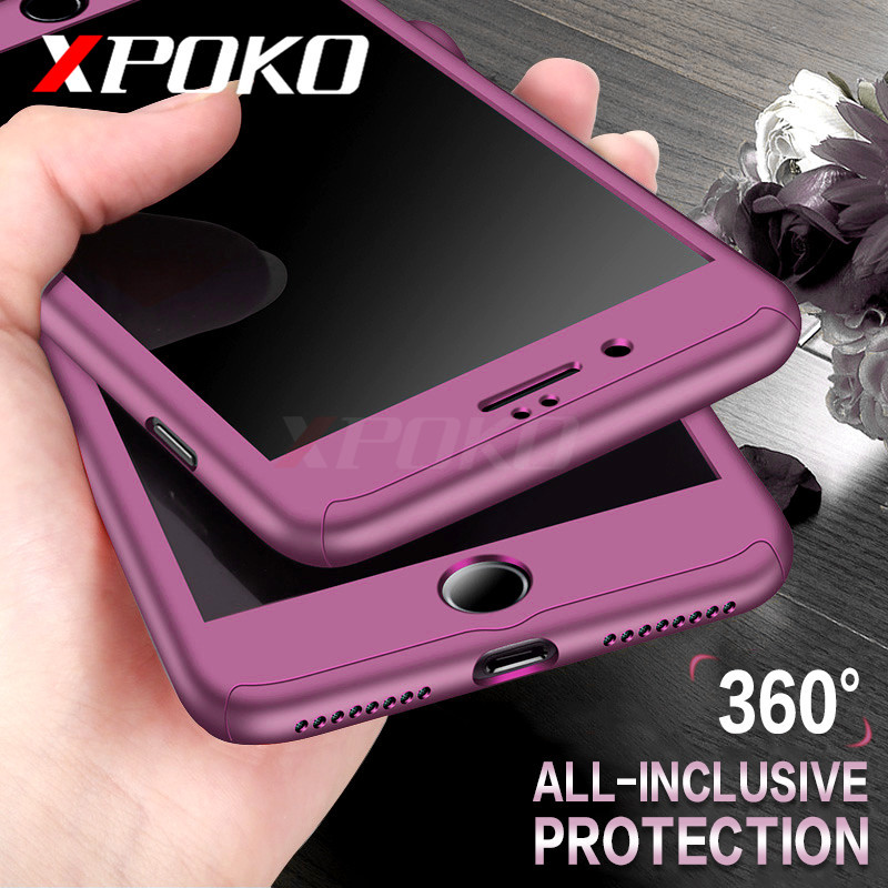 XPOKO 360 Degree Full Body Hard Cover Case For iPhone 7 8 Plus Hybrid Shockproof Case For iPhone 6 7 6S Plus With Tempered Glass