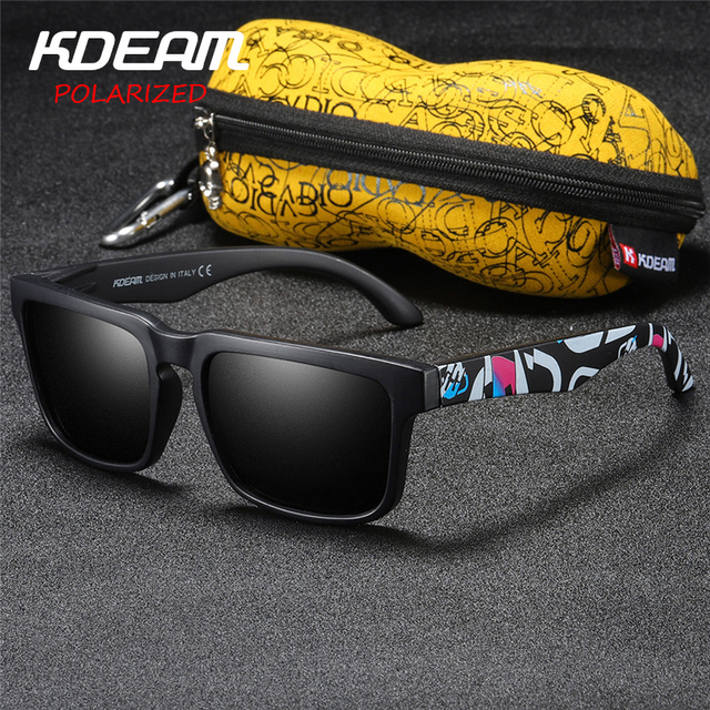 5f6d8ff29e1 KDEAM 2018 Summer New Men Sport Sunglasses Polarized HD lens Square Sun  Glasses Women Eyewear Colorfull UV400 With Case KD2501