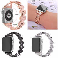 Stainless Steel Wrist Strap for Apple Watch Band Bling Diamond 38mm 42mm Smart Watch Circle Metal Band for iWatch Series 3 2 1