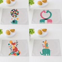 Coasters Cotton Linen printed Table Insulation Pad Waterproof oil Resistant  Placemats Coffee Mat