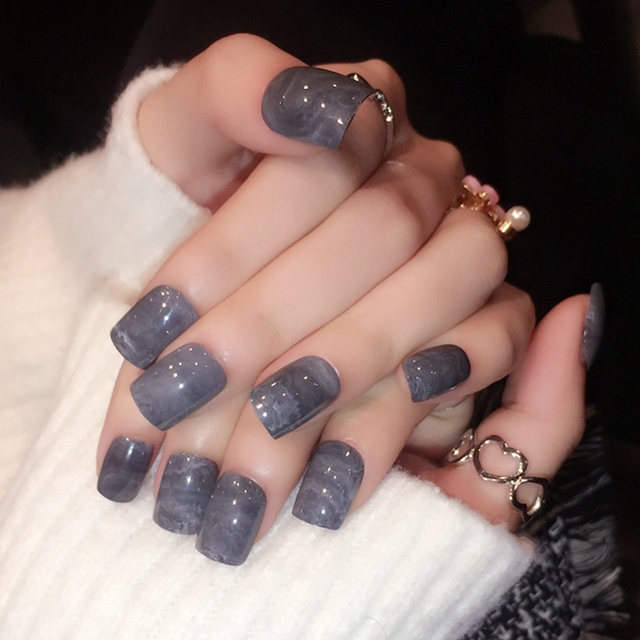 New Designed False Nails Marble Pattern Grey Color Pre Fake Nail Tips Full Wrap