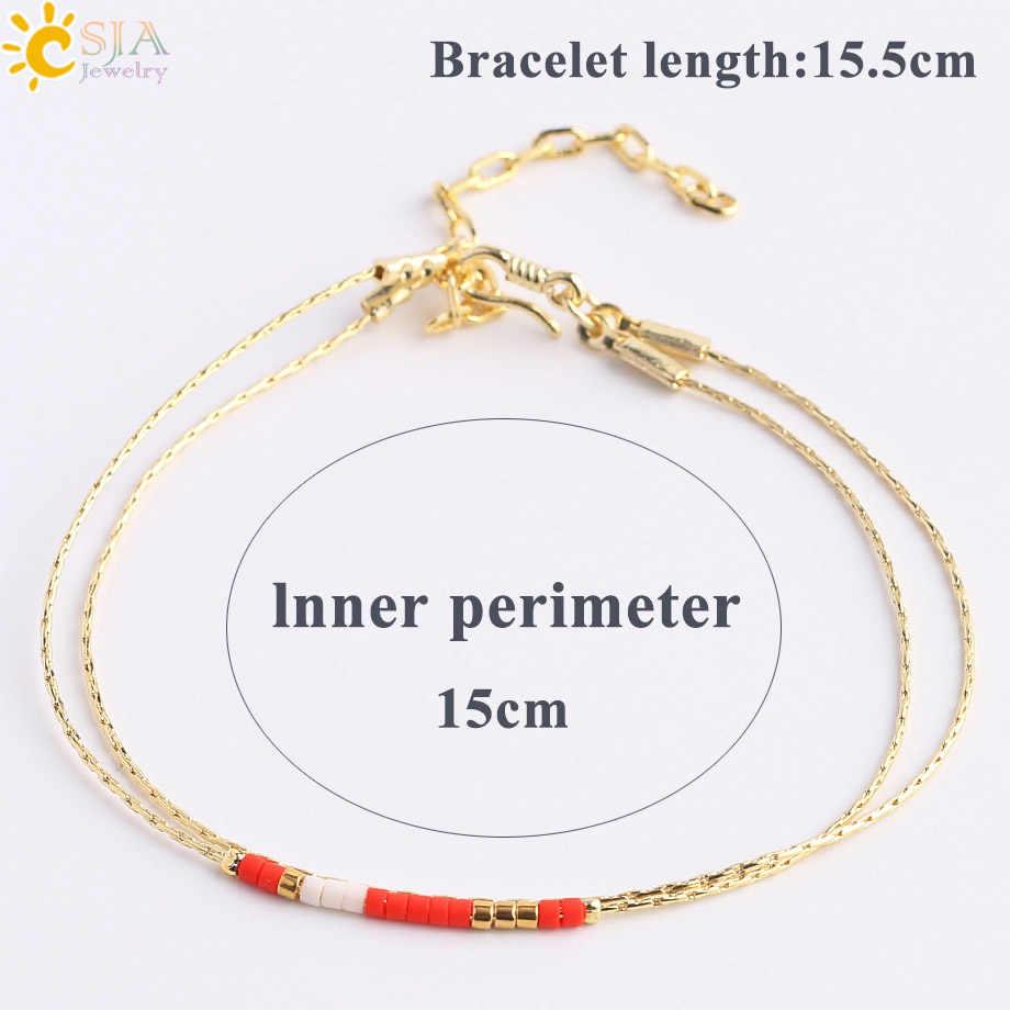 CSJA Pulseras Miyuki bransoletki dla kobiet bransoletka z koralików 2-warstwa śliczne Mini Delica biżuteria regulowany złoty kolor Link Chain S187