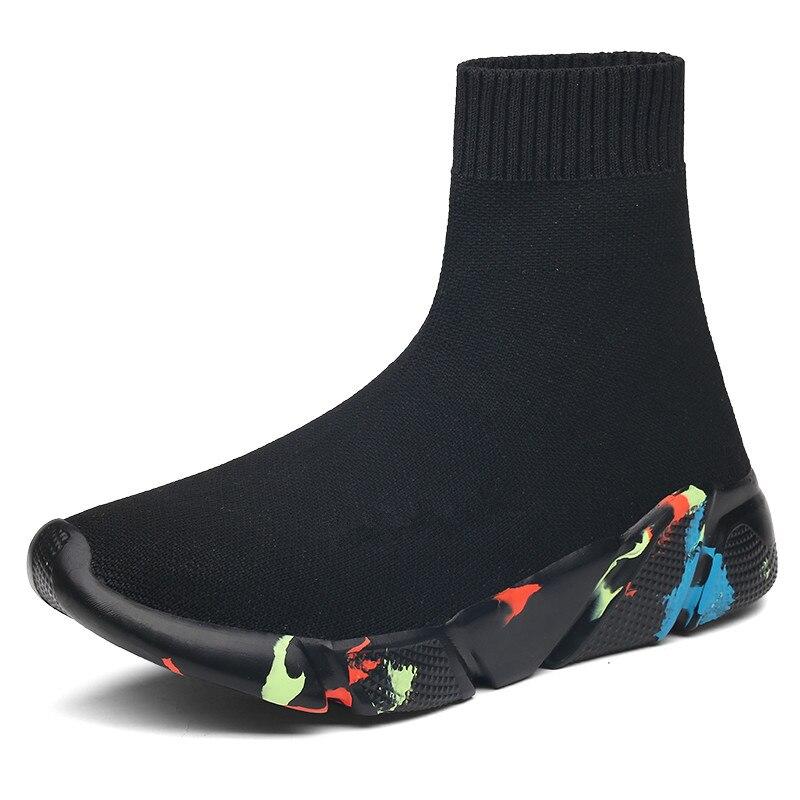 2019 Novos Sneakers Mulheres Sapatas Do Esporte Dos Homens Malha Respirável Superior Meia Botas Chunky High Top Running Shoes o Transporte Da Gota