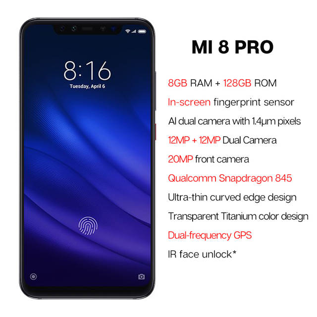 US $498 29 |Global Version Xiaomi Mi 8 Pro 8GB 128GB Snapdragon 845 6 21''  AMOLED Display Mobile Phone In screen Fingerprint 20MP Camera NFC-in Mobile