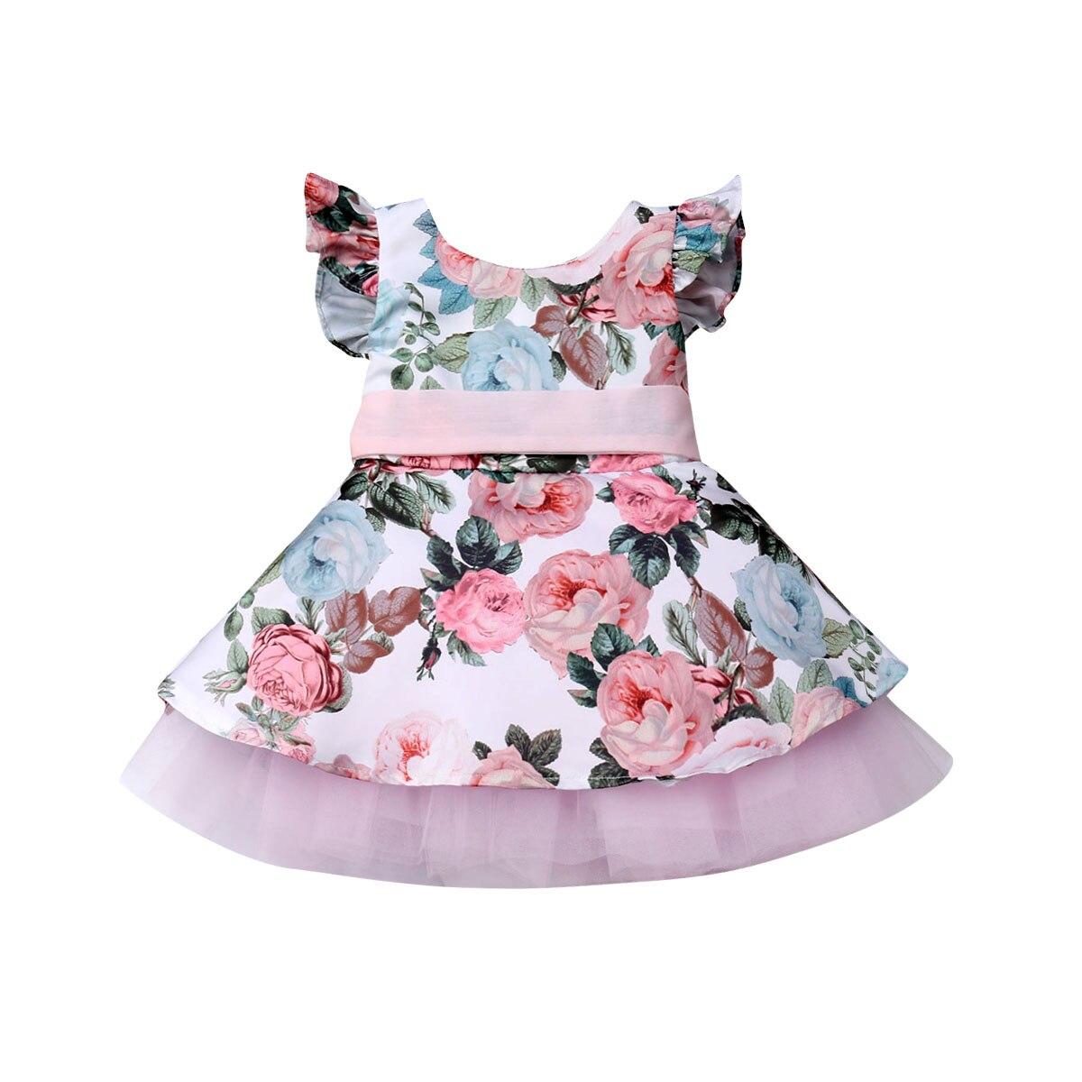 Toddler Kids Baby Girls Flower Party Pageant Lace Tutu Dress Sundress Summer USA