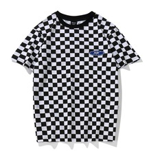 YouthCodes Plaid T Shirt Classic Black and White Lattice Basic Cotton O Neck Patchwork Embroidery Chess