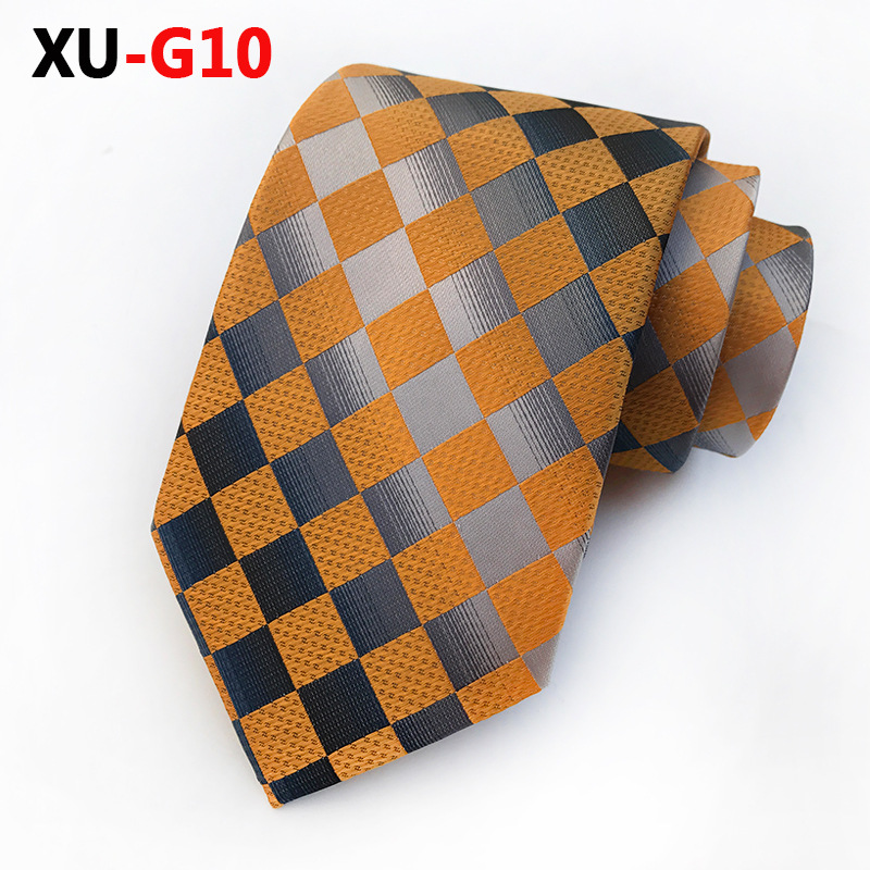 Orange Gray Gingham Plaid Necktie Tie For Man 8cm Fashion Tartan Ties For Men Wedding Party Tie Christmas Gifts For Men