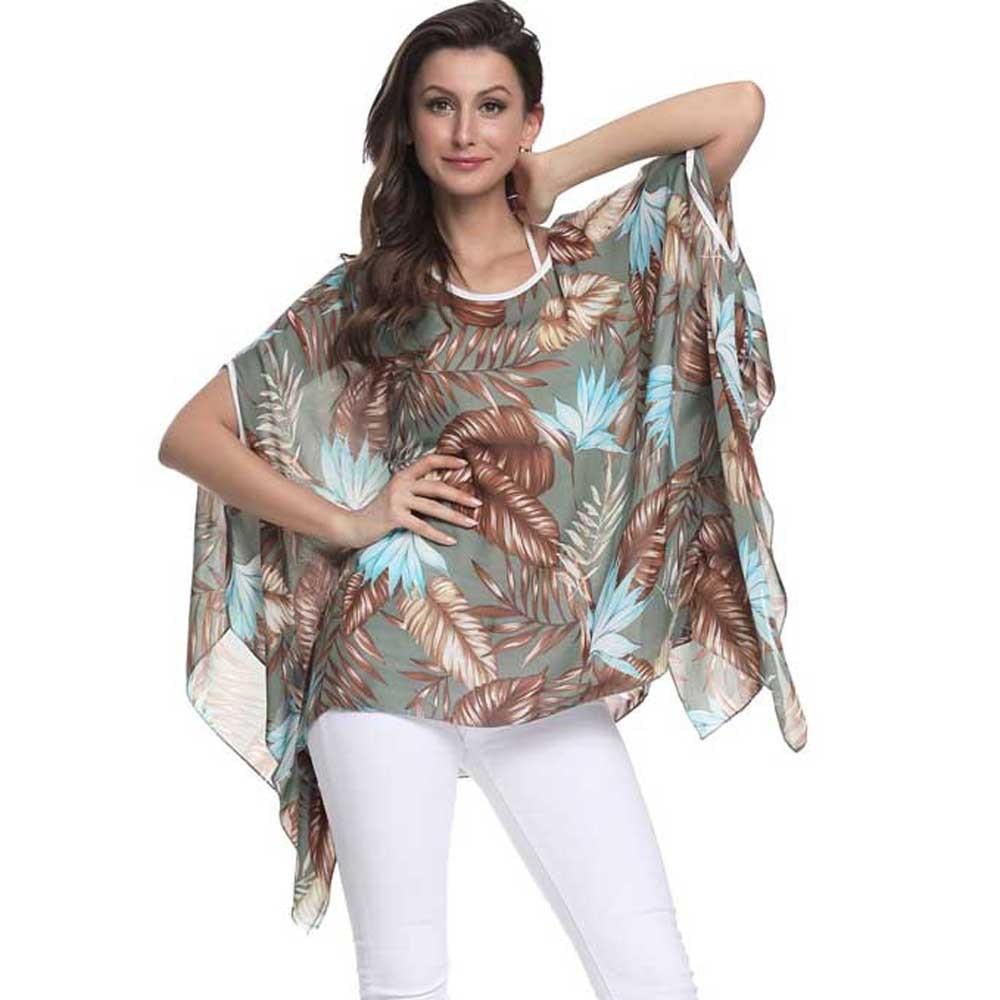 Hot Sale Saat High Quality Fashion Women Leaf Print Bohemian Bat Shirt Blouse Tops Cover Up Gift Рубашка