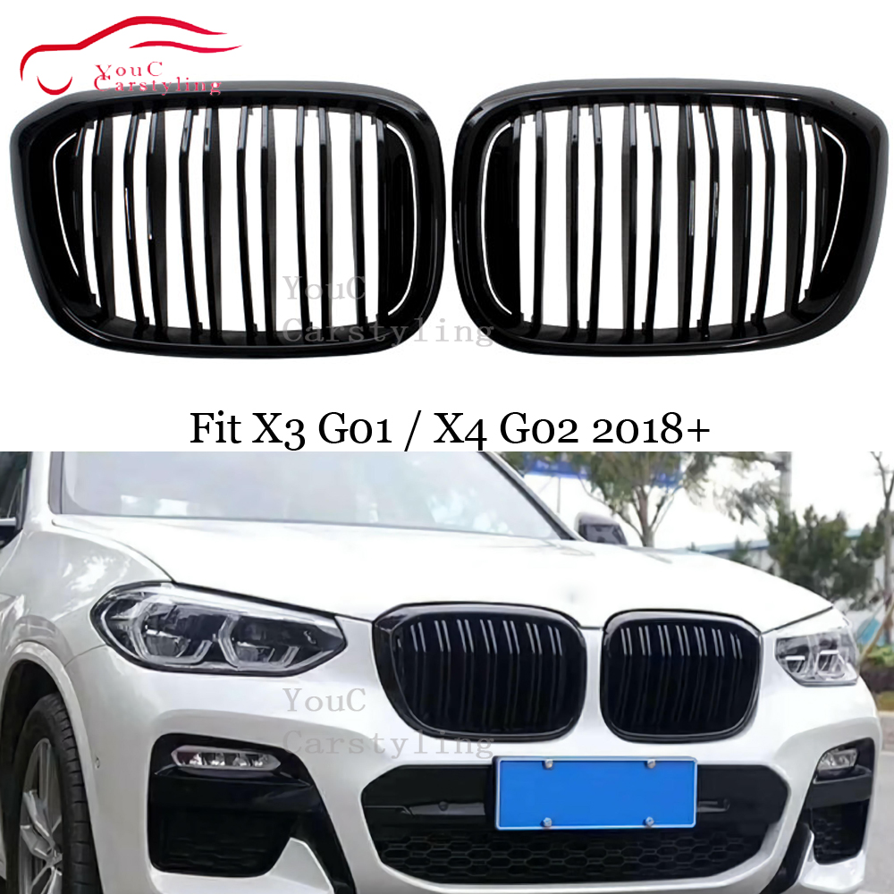 New <font><b>G01</b></font> G02 Front Kidney Grille Mesh for <font><b>BMW</b></font> <font><b>X3</b></font> X4 series <font><b>G01</b></font> G02 Bumper Racing <font><b>Grills</b></font> ABS Plastic Gloss / Matte Black color image