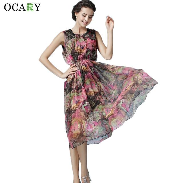 2a55827fb4 Moda Boho Midi sukienka kobiety lato kwiatowy Print długie sukienki 2017  eleganckie frezowanie plaża sukienka rozmiar