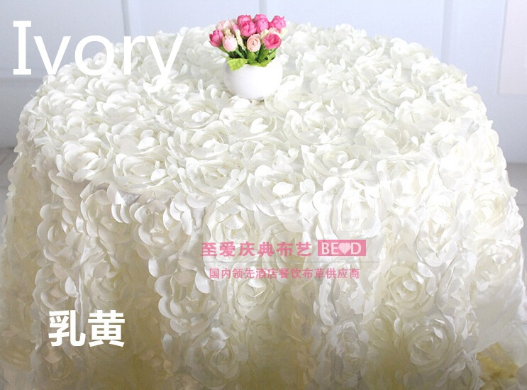 table party cloth ivory colour rosette embroider table cover for wedding,hotel and restaurant round tables decoration