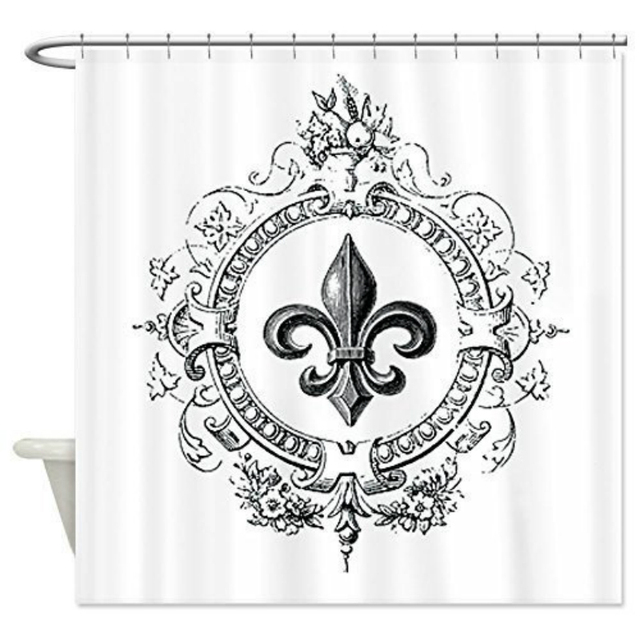 Memory Home Vintage French Fleur De Lis Shower Curtain Standard ...