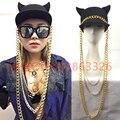 Певица маленький демон костюм hat панк золото ds многослойная золотая цепь черная шляпа feminino кисточкой hat