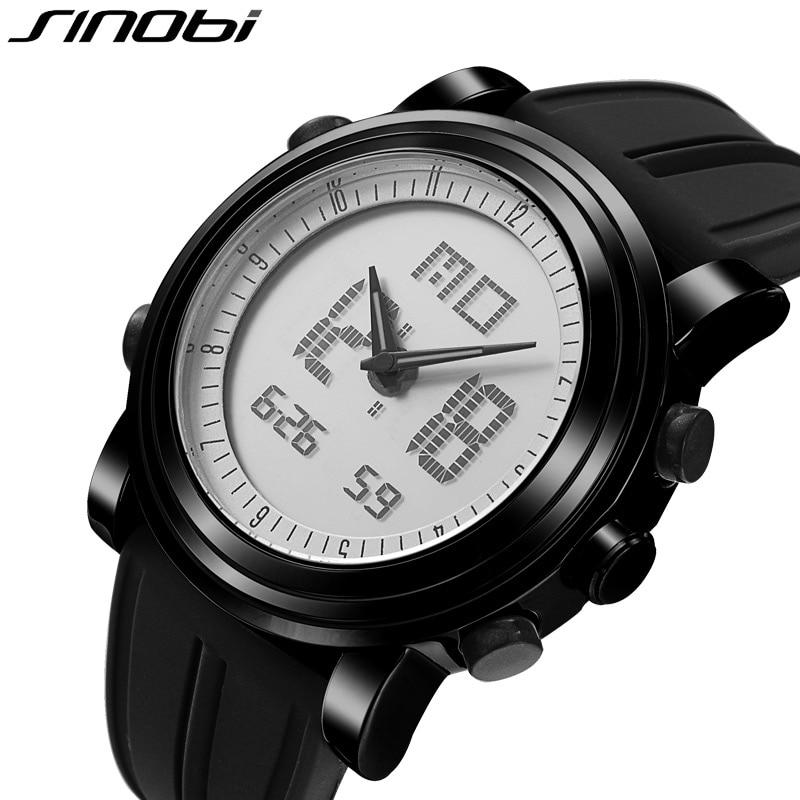 New SINOBI Brand Sport Watches For Men Waterproof Silicone Male Clock Digital Watch Men LED 2016