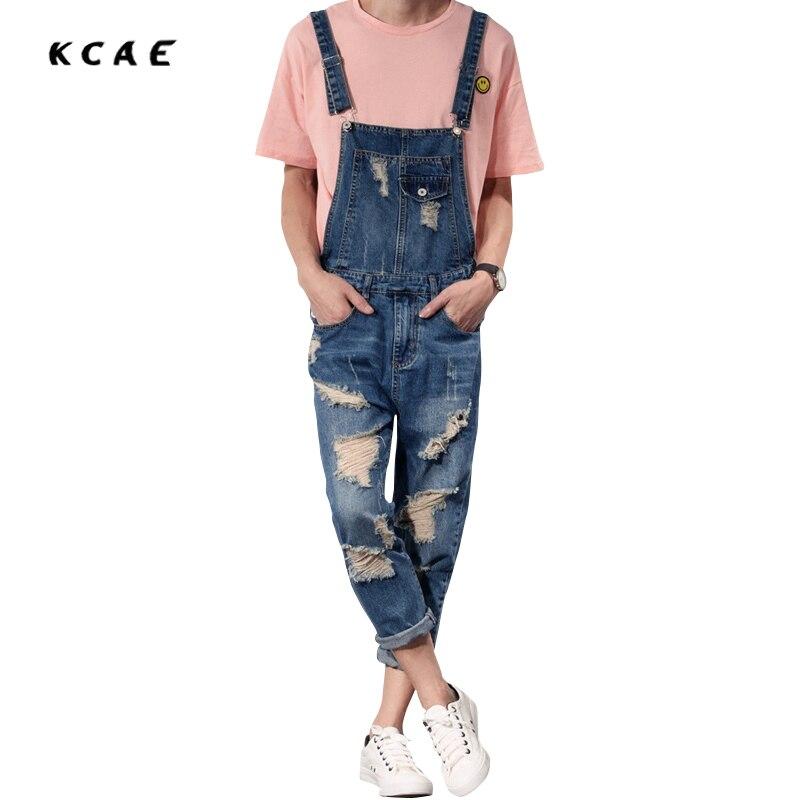 2016 New Mens Bib Overalls Fashion Ankle Length Denim Overalls Men Ripped Jeans Male Denim Jumpsuit denim overalls male suspenders front pockets men s ripped jeans casual hole blue bib jeans boyfriend jeans jumpsuit or04