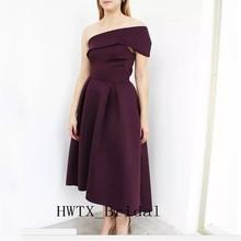 Cheap Tea Length Mother Of Bride Dresses Burgundy Satin A Line One Shoulder Capped Sleeves Short