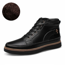 Waterproof Men's Ankle Boots 2016 Spring Warm Martin Boots for Man Fashion Snow Fur Boots Mens Shoes Western Motorcycle Boots