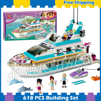 618psc Friends Girls Large Luxury Dolphin Cruiser Ship 10172 Model Building Block Passenger Liner Gifts Set
