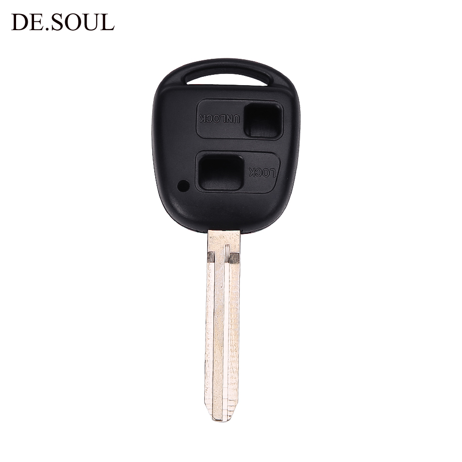 DE.SOUL 2 Buttons Remote Key Case For Toyota Camry RAV4 Prado Corolla Tarago Avensis Avalon EHCO Land Cruiser Key Fob Shell