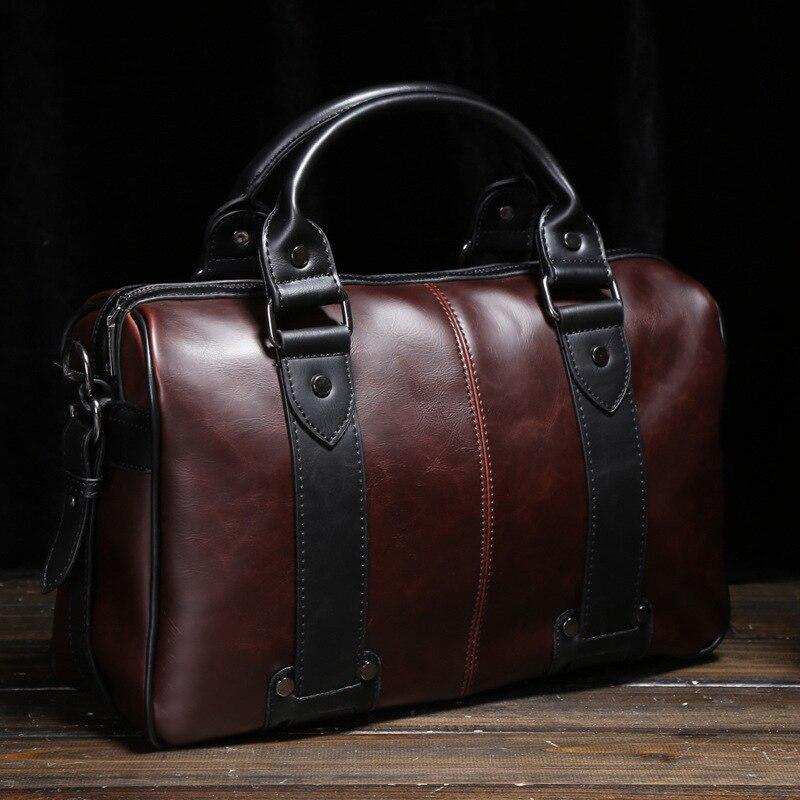 Mens Crazy Horse Leather Shoulder Bags Crossbody Bag Big Tote Handbags Vintage Style Brown Men Bags bolsas male