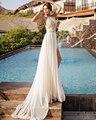 2016 Nova Designer Primavera Verão Praia Cintura Alta Império Organza Prom Vestidos Side Slit Lace Halter Vestidos Formais Plus Size