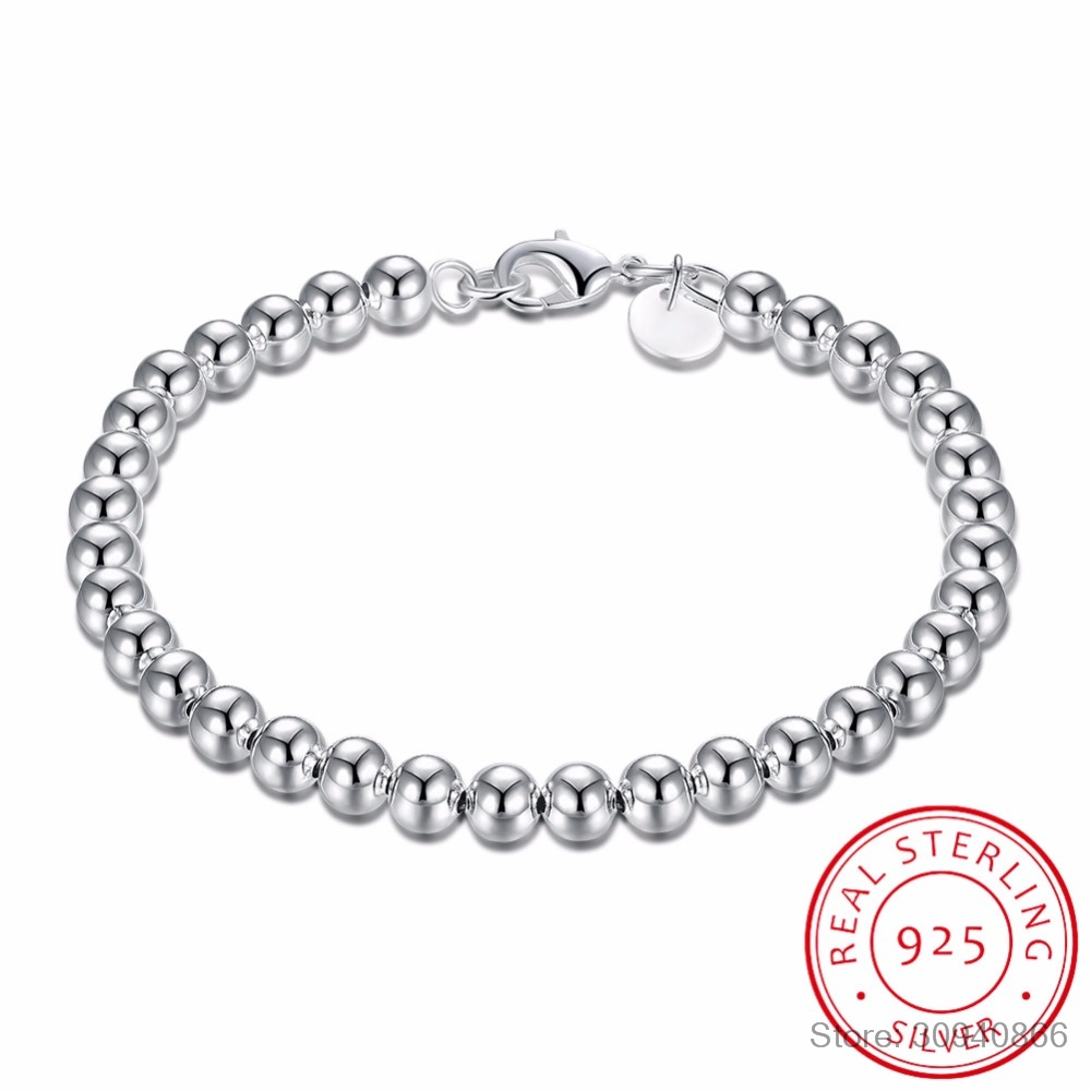 925 Sterling Silver Bracelet Lucky Round Prayer 6MM Beads Bracelets & Bangles For Men And Women Jewelry S-B29