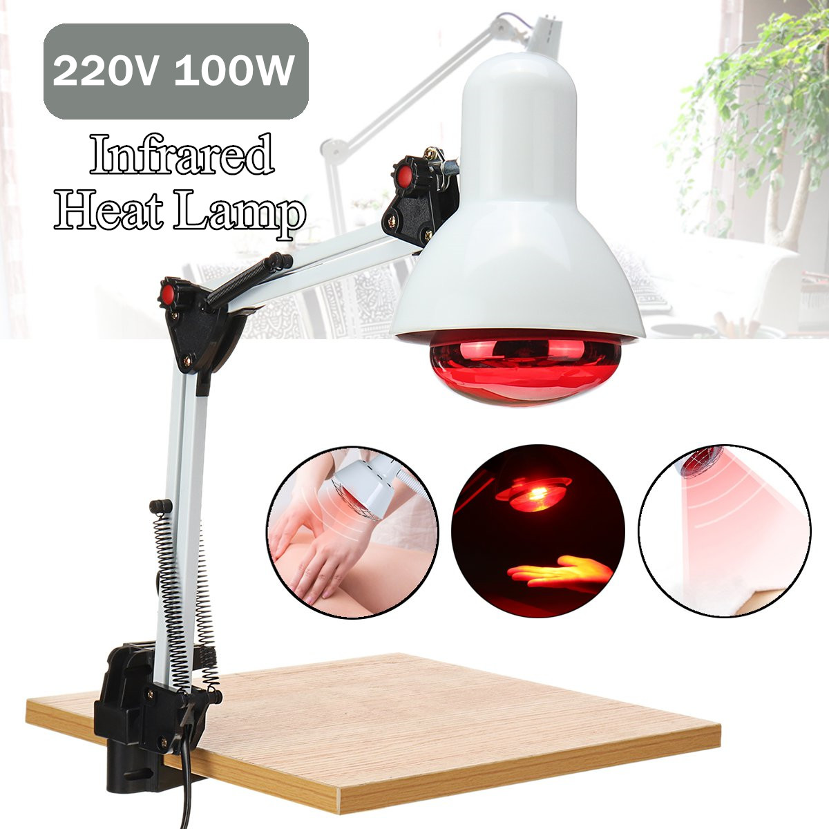220V 100W E27 Infrared Physiotherapy Explosion-proof Lamp Heater  for Muscle Pain Cold Relief Light Therapy Infra Care Massage lampara infrarrojo peru