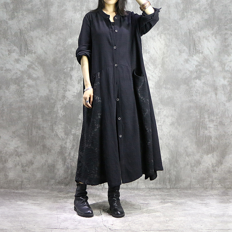 Casual Style Original Cotton Linen Coat Long Women   Trench   Spring Autumn New Irregular Large Size Female   Trench