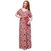 2018 Summer Fat MM Woman Dress Loose fashion V neck printed floor length long dresses plus size women cloth dress Big size 6XL