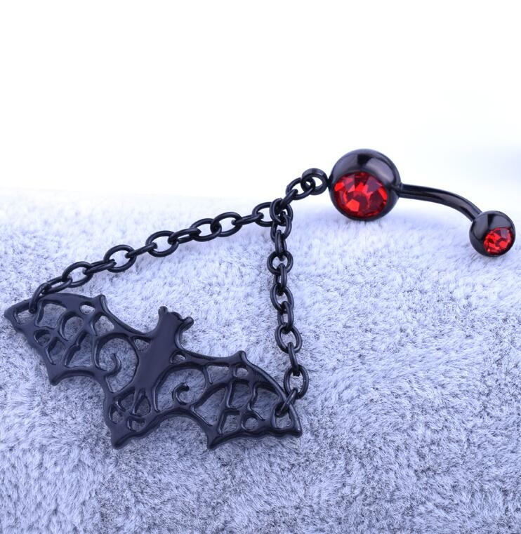 HTB13OMzKVXXXXXxXpXXq6xXFXXXC Trendy 3-Styles Black Bat Belly Button Ring For Women