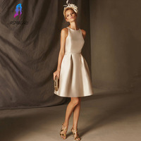 Champagne Short Cocktail Dresses Satin Evening Gown Appliques Back Button Formal Women Dress