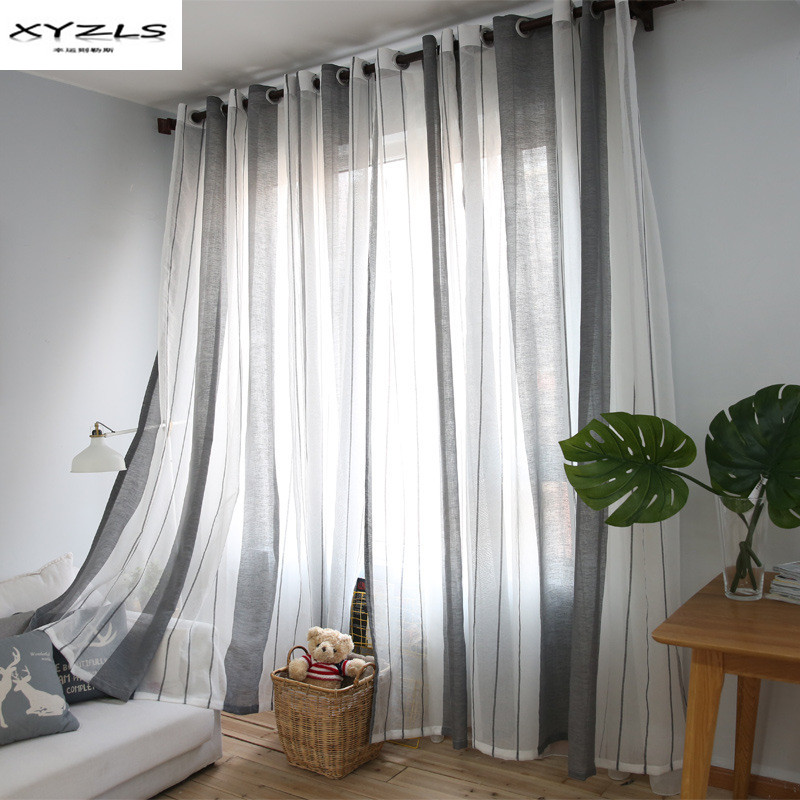 XYZLS North Europe Style Simple Striped Curtains White Grey Sheer Curtain  For Living Room Translucidus Tulle  Grey Striped Curtains