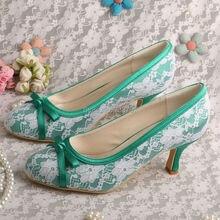 Wedopusผู้หญิงสีเขียวรองเท้าเพื่อนเจ้าสาวปิดนิ้วเท้ากลางส้น