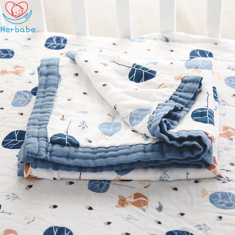Herbabe Baby Muslin Blanket Cotton Swaddle Receiving Blankets For Newborn Kids 47