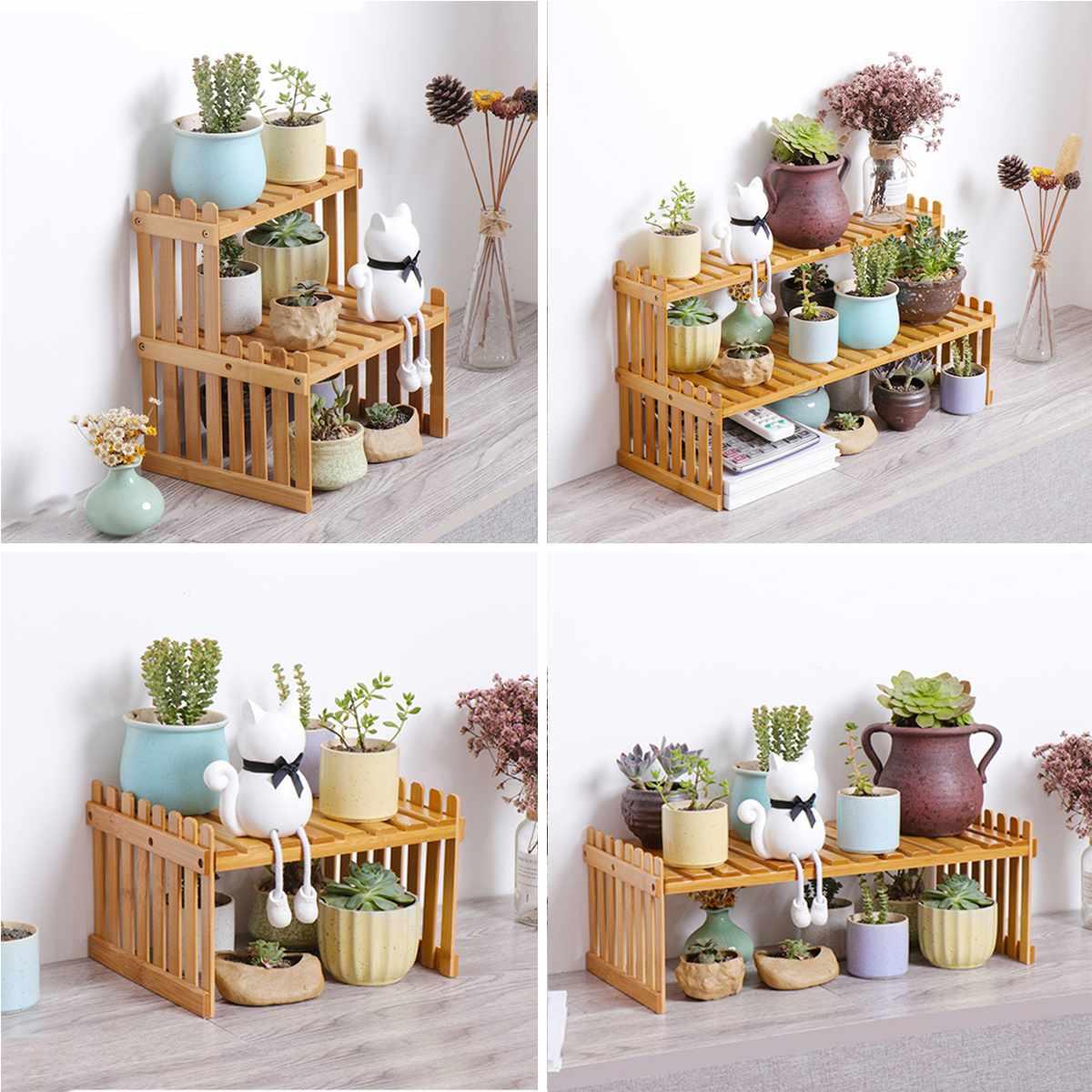 Natural Bamboo Plant Shelves Flower Garden Rack Stand Flower Display Stand Storage Shelf Organizer Home Desk Balcony Garden