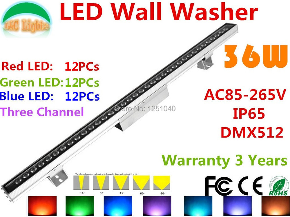 AC85-265V 36W DMX512 RGB LED Wall Washer Outdoor Spotlight Change color LED Floodlight IP65 Waterproof Buildings Projector Light 36w led wall washer ac85 265v warm white rgb color free shipping