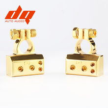BEST 2PCS Heavy Duty Metal Gold Plated Gauge Car Battery Terminal Positive/Nagative F 0/1 2 4 8 AWG Positive & Negative 2 In 1(China)