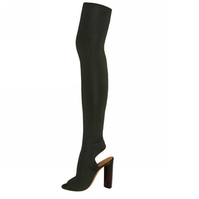 2017 mujeres muslo botas altas sobre la rodilla botas de tacón alto peep toe tacones altos zapatos de mujer más el tamaño 4-11 botas de mujer femininas