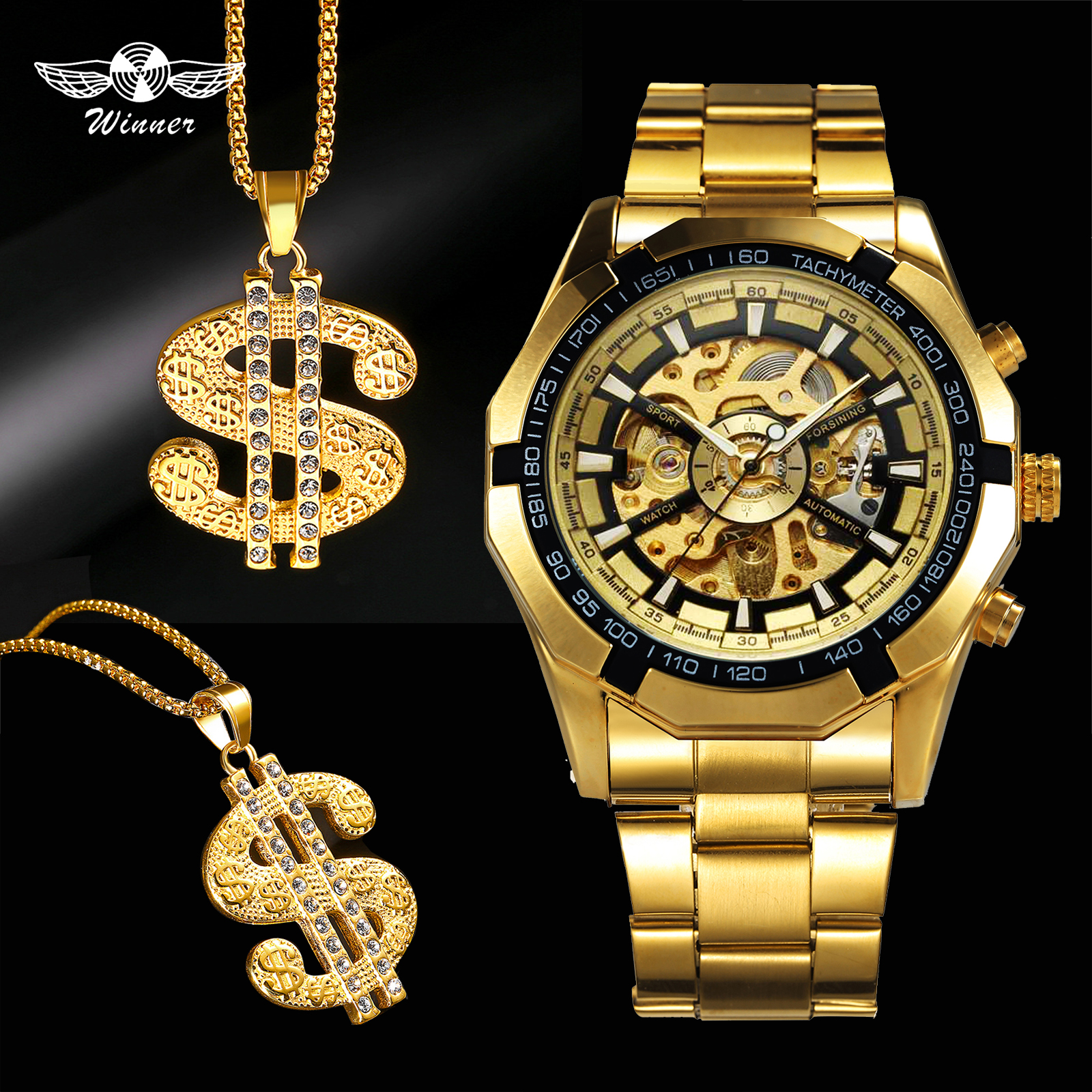 WINNER Punk Watch Men Skeleton Auto Mechanical Mens Watches Top Brand Luxury Jewelry Set + Hip Hop Iced Out Golden NecklaceWINNER Punk Watch Men Skeleton Auto Mechanical Mens Watches Top Brand Luxury Jewelry Set + Hip Hop Iced Out Golden Necklace