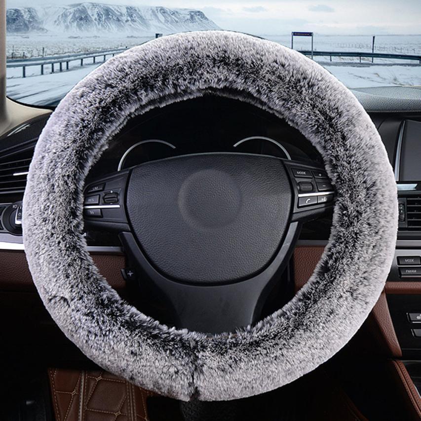 Kongyide Plush Warm Steering Wheel Cover Artificial Rabbit Fur Handbrake Car