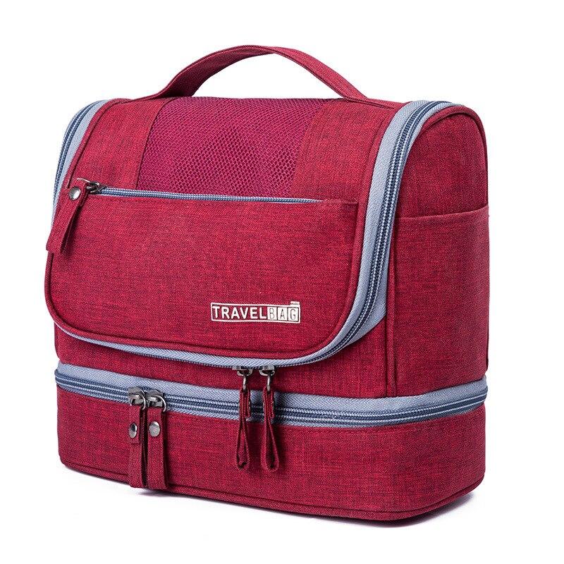 Kit de Higiene Viagem à prova d' água Dupla Camada para Mulheres Dos Homens Bolsa de Maquiagem Portátil Sacos Cosméticos Beauty Bag Organizador Carry On Caso