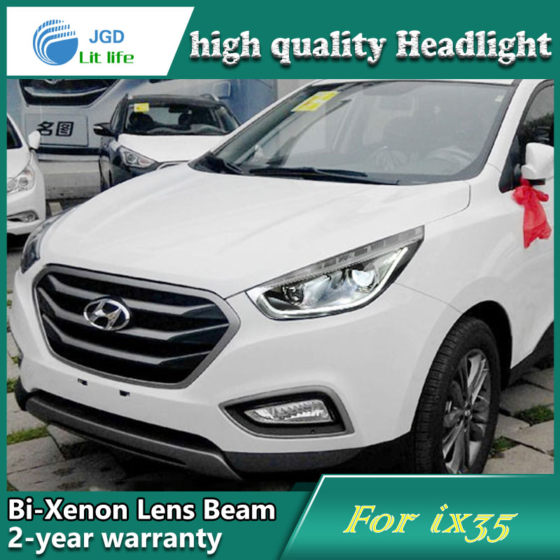 Car Styling Head Lamp case for Hyundai IX35 Headlights LED Headlight DRL Lens Double Beam Bi-Xenon HID Accessories car styling head lamp case for hyundai creta ix25 headlight 2015 2016 sentra led headlight drl h7 d2h hid option bi xenon beam