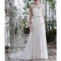 2017 Простой Пляж Свадебные Платья Аппликации Свадебные Платья Scoop Тюль Свадебное Платье vestidos де novia свадебные платья Свадебные платья