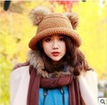 1 pcs 2016 Winter fashion rabbit hair knitted cap Women warm hat 4 colors Free shipping