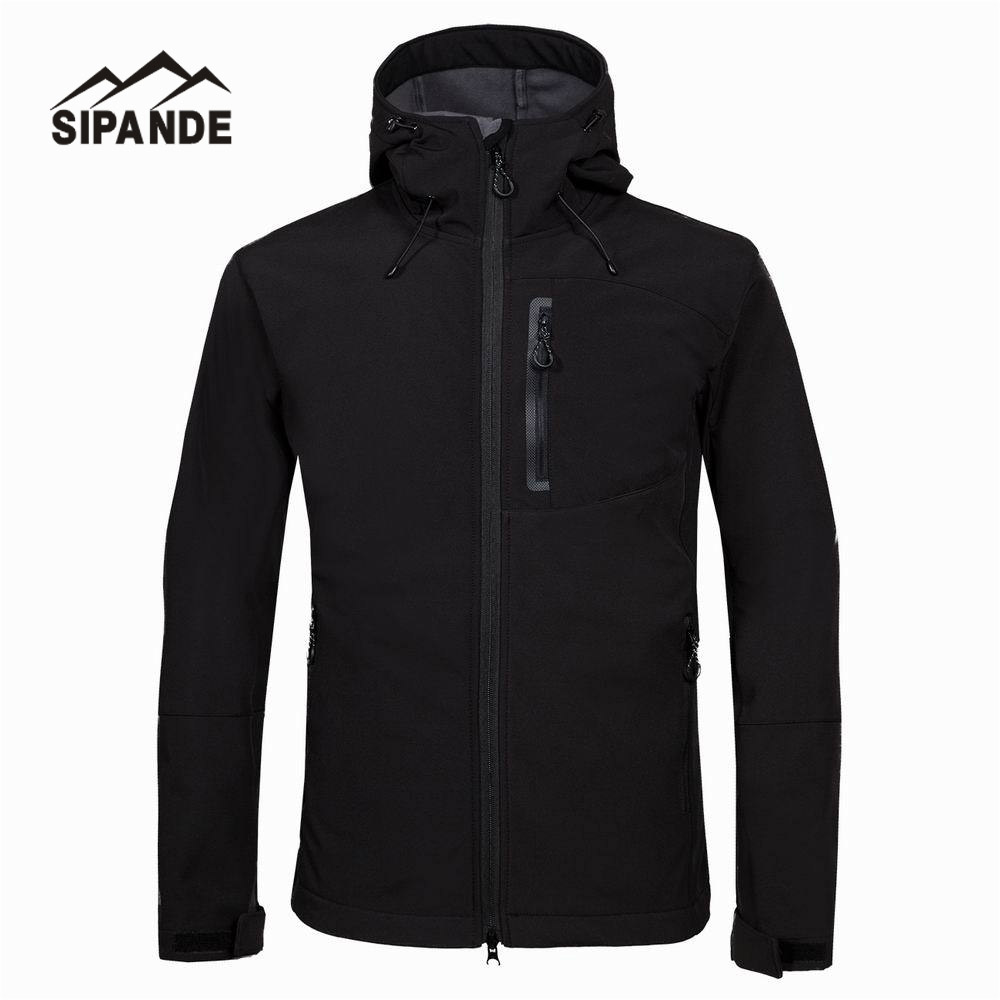Men's Hiking Jackets with hood Softshell Jacket Men Outdoor Autumn Winter Sports Coats Waterproof Windproof Camping Ski Jacket