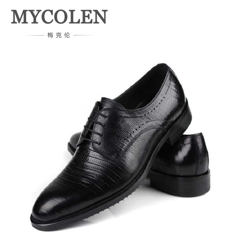MYCOLEN Brands Dress Shoes Men Genuine Leather Shoes Formal Shoes British Fashion Lace Up Men Oxfords Shoes Chaussures Hommes men business formal dress shoes oxfords men leather shoes lace up british style genuine leather brogue shoes classic fashion