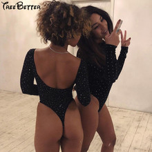 купить Backless Long Sleeve Silver Dots Reflective Print Sexy Bodysuit Winter Spring Women Fashion Casual Body по цене 1367.96 рублей