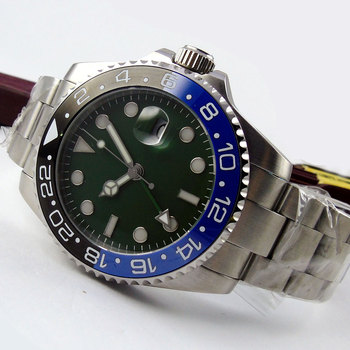New Hot 43mm Bliger Green Sterile Dial GMT Date Sapphire Glass Luminous ceramic bezel Deployment Automatic Movement men's Watch