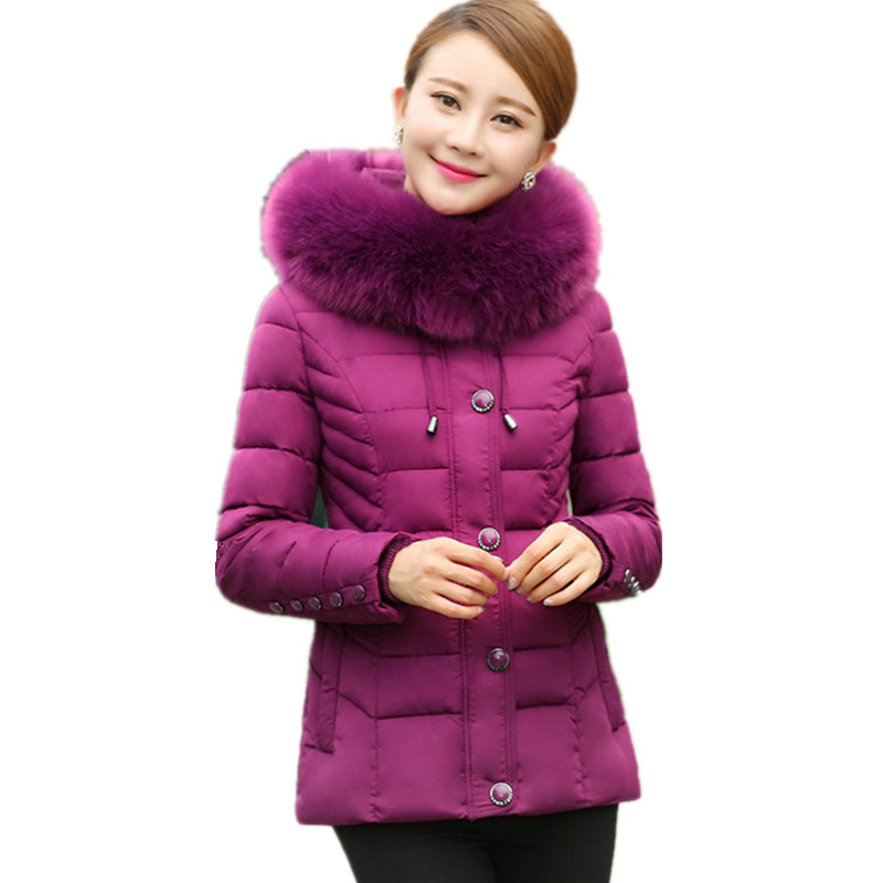 ФОТО High Quality Large Faux Fur Middle-aged Cotton Padded Womens Winter Jackets Casual Coat Outerwear Large Size Parka TT1747